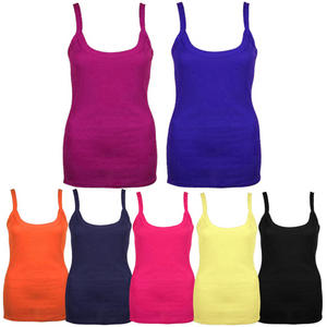 View Item Ribbed Strappy Cami Ladies Stretch Long Cotton Vest T-shirt Top Womens Size 8-12