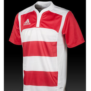 View Item Adidas Climacool Hooped Y-Neck Rugby Jersey T-Shirt Top White/Red Mens Size