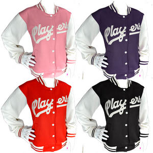 Womens Players Style Baseball Varsity Jacket Top Ladies Size S-XL
