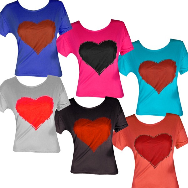 Heart Print Ladies Cropped Top Tee T-Shirt Womens Size 8-14 Preview