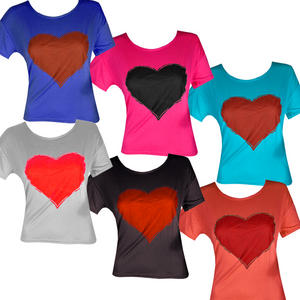 View Item Heart Print Ladies Cropped Top Tee T-Shirt Womens Size 8-14