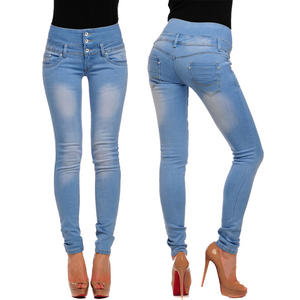 View Item High Waist Skinny Stretch Denim Faded Blue Coloured Jeans Womens Size 8 - 14