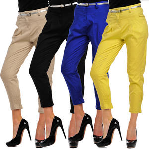 Pleated Cuffed Hem Ladies Belted Capri Style Chino Womens Size