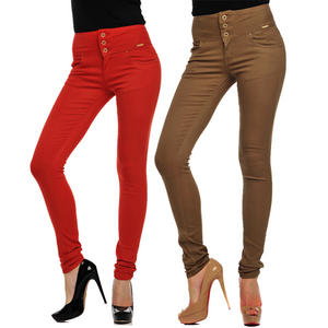 View Item High Waist Slim Skinny Stretch Coloured Chinos Jeans Womens Size