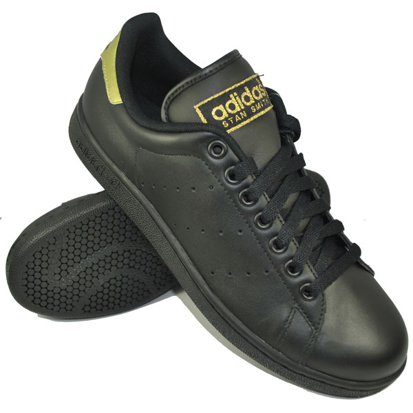 Adidas-Originals-Stan-Smith-2-Leather-Trainers-Black-Gold-Mens-Size