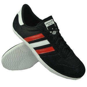 View Item Adidas Originals Net 80 Trainers Black/White/Red Mens Size