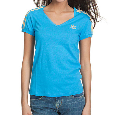 Adidas Originals Soccer V-Neck T-Shirt Sky Blue/Gold Womens Size Preview