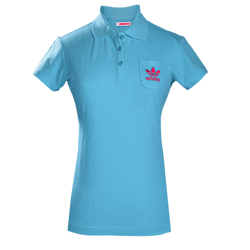 Adidas Organic Cotton Basic Polo Shirt Turquoise Blue Womens Size Preview