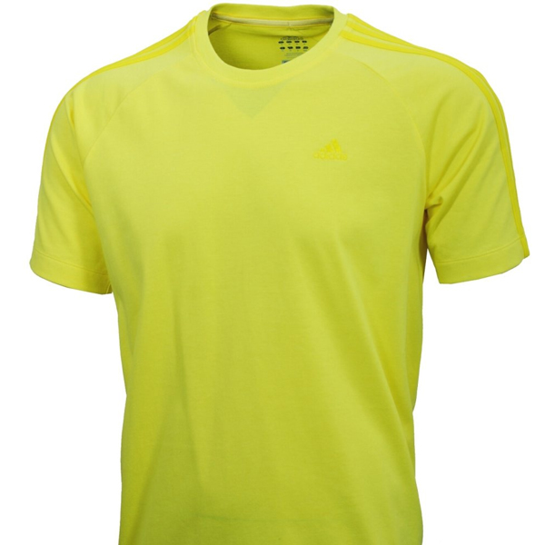 Adidas Essentials Clima365 3S Crew Neck T-Shirt Yellow Mens Size Preview