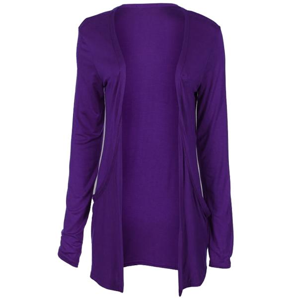 Ladies Slouch Pocket Long Sleeve Open BoyFriend Cardigan Top ...