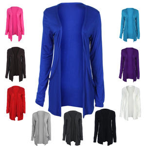 View Item Ladies Slouch Pocket Long Sleeve Open BoyFriend Cardigan Top Womens Size