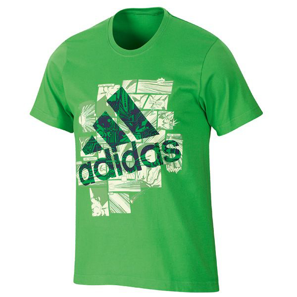 Adidas Essentials Smash Graphic Crew Neck T-Shirt Green Mens Size Enlarged Preview