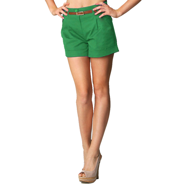 Fold Up Double Waist Belted Cotton Cargo Tailored Chino Shorts ...