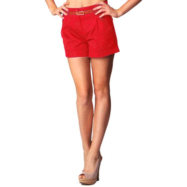 Womens Red Chino Shorts - Hardon Clothes