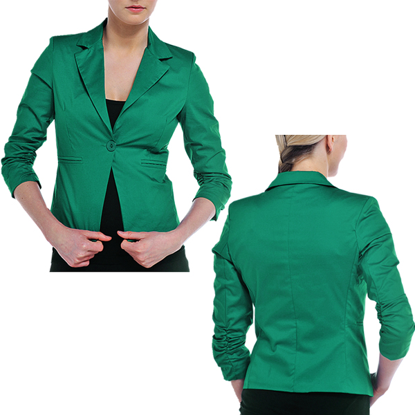 Tailor Fitted Single Button Coloured Blazer Ruched Sleeve Jacket
