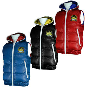View Item Fly Guy Rolls Badge Full Zip Hooded Quilted Padded Gilet Jacket Boys Size