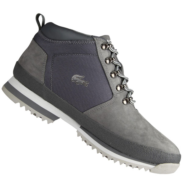 Lacoste Upton NBK Leather Boots Dark Grey Mens Size Preview
