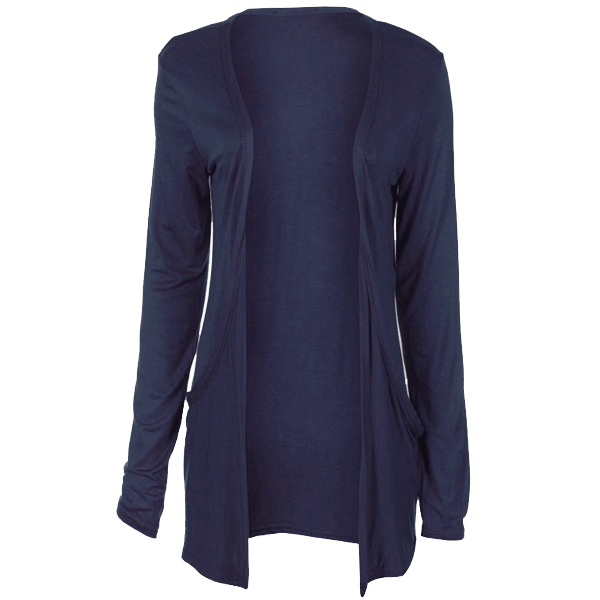 Ladies Slouch Pocket Long Sleeve Open BoyFriend Cardigan Top ...