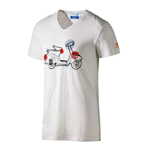 Adidas Originals Vespa Scooter Graphic Print  T-Shirt White Mens Size Enlarged Preview