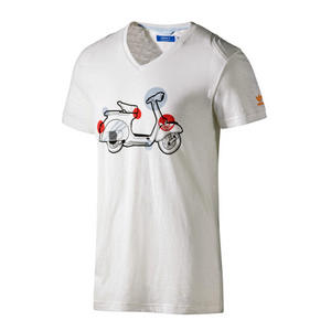 View Item Adidas Originals Vespa Scooter Graphic Print  T-Shirt White Mens Size