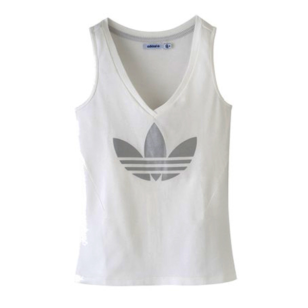Adidas Originals Sleek V Neck Trefoil Logo T-Shirt Vest Top White Womens Size Preview
