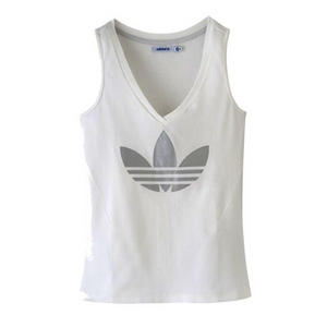 Adidas Originals Sleek V Neck Trefoil Logo T-Shirt Vest Top White Womens Size