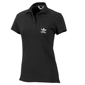 Adidas Organic Cotton Basic Polo Shirt Top Black Womens Size