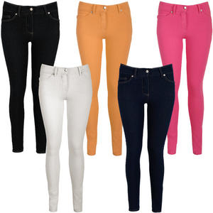 View Item Button Detail Full Length Ladies Jeggings Stretch Denim Legging Womens Size 8-14