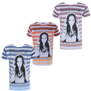 View Item The Beat Goes On Soulstar Striped Girl Print Crew Neck T-Shirt Mens Size