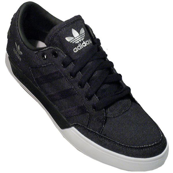 Adidas Originals Hard Court Low Canvas Trainers Black/Black Mens Size Enlarged Preview