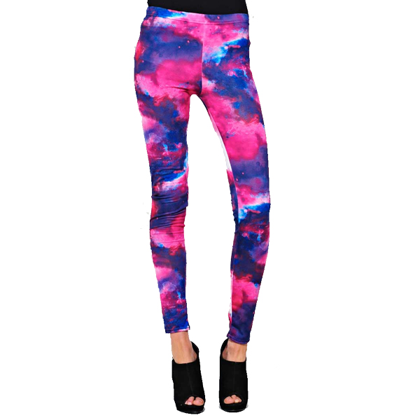 Ladies Milky Way Tye Dye Galaxy Print Full Length Leggings Womens Size Preview