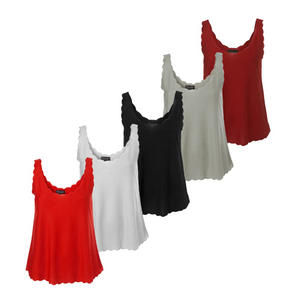 Ladies Scallop Edge Scoop Neck Vest Tops Womens Size 8-14