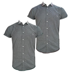 D-Struct Twin Tipped Collar Slim Fit Ghingham Check Casual Shirt Mens Size