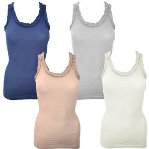 View Item Ruffle Neck Ladies Long Cotton Sleeveless T-Shirt Vest Top Womens Size