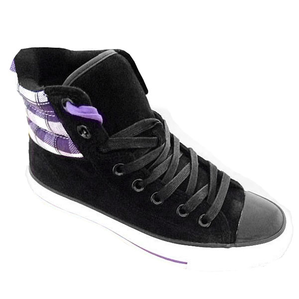 Converse CT Padded Collar High Suede Trainers Black/Purple Womens Size Enlarged Preview