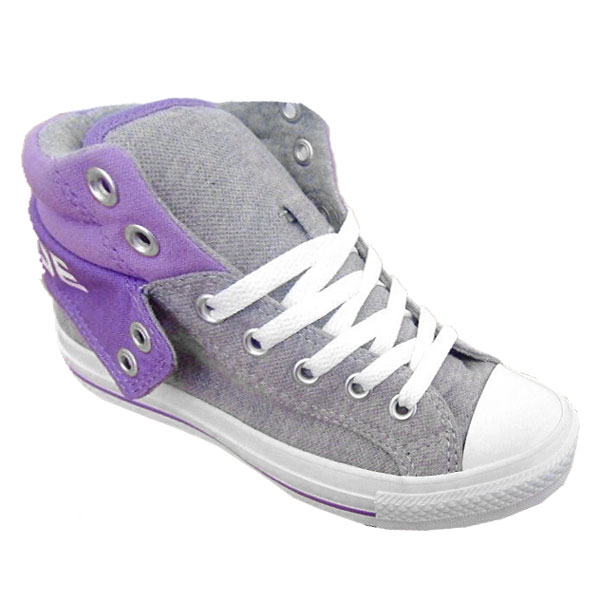 Converse CT Padded Collar 2 Mid Canvas Trainers Grey/Purple Womens Size Enlarged Preview