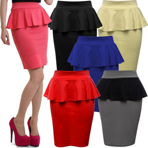 View Item Womens Stretch Bodycon Peplum Pencil Skirt Ladies Size 8 - 14