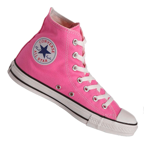 Converse All Star Hi High Top Canvas Trainers/Shoes Pink Womens Size Enlarged Preview