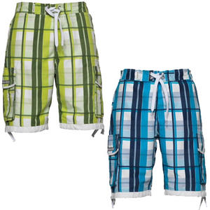 View Item Crosshatch Checkered Print Summer Swim Surf Board Shorts & Flip Flops Mens Size