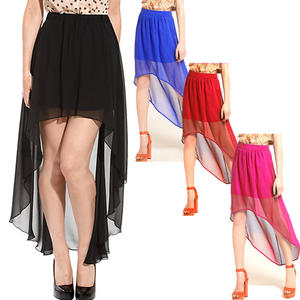 High Low Chiffon Dip Back Hem Womens Skirt