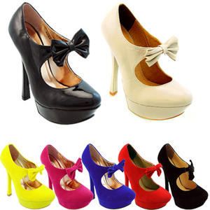 View Item High Heel Stiletto Mary Janes Bow Platform Court Shoes Party Sandals Womens Size
