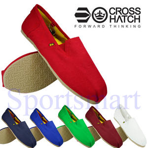 View Item Crosshatch Brigade Canvas PlimSolls Espadrilles Slip On Pumps Trainers Mens Size