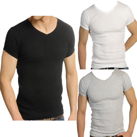 743fa20eff2c Raiken Ribbed V Neck Fitted Short Sleeve T-Shirt Mens Size S - XL ...
