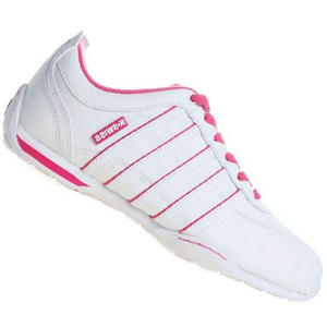 View Item K-Swiss Arvee 1.5 Varsity Leather Trainers White/Pink Junior Girls Size