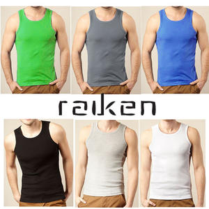 View Item Raiken Fresh Ribbed Slim Fit Sleveless Vest Top T-Shirt Mens Size S - XL