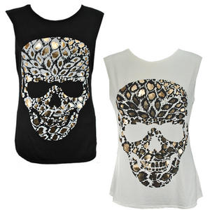 View Item Foil Print Tribal Leopard Skull Head Sleeveless T-Shirt Long Vest Top Womens Siz