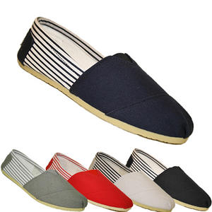 View Item Ella Canvas Stripe Nina Pumps PlimSolls Espadrilles Slip On Trainers Womens Size