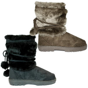 View Item Katrina Designer Ella Fur Winter Snow Short Lined Pom Boot Shoes Womens Size