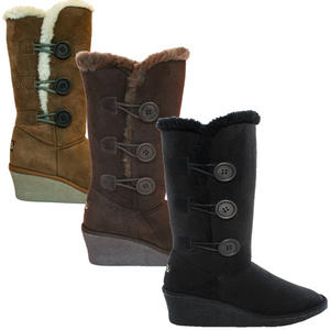 View Item Storm Side Button Ella Winter Fur Snow Wedge Heel Boot Shoes Womens Size