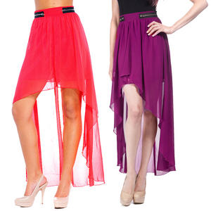 Crafted Zip High Low Chiffon Asymmetric Skirt